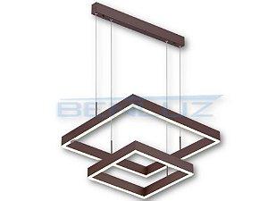 Pendente Quadrado 40×60cm Acrilico Marrom LED 80W Bivolt
