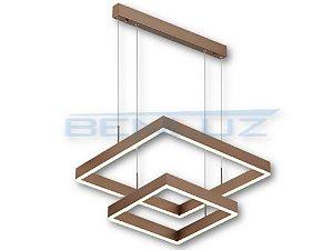 Pendente Quadrado 40×60cm Acrilico Dourado LED 80W Bivolt