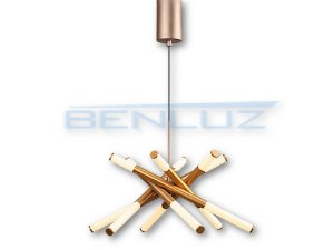 Pendente 62×62×150cm Dourado Aclirico LED 36W 3000k Bivolt