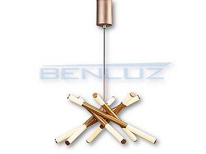Pendente Quadrado 62×62×150cm Acrilico Dourado LED 54W Bivolt