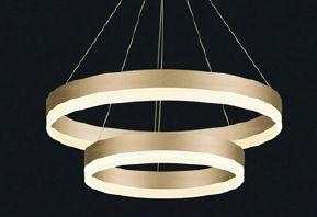 Pendent 40×60cm Acrilico Dourado 90W LED Bivolt