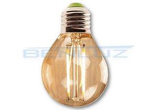 Lâmpada Bulbo LED 3,2W Mini Bolinha Filamento Branco Quente Bivolt