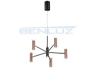 Pendente 60×60×a120cm Preto+cobre Aluminio Aclirico LED 42W 3000k Bivolt