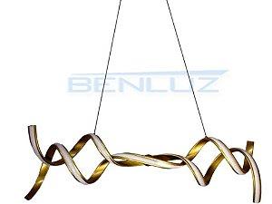 Pendente 105×22×120cm Silicone Dourado LED 50W Bivolt