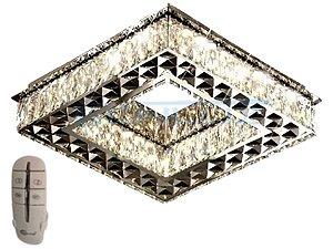Plafon Quadrado 35cm Cristal Led 32w 3000k 4000k 6000k Controle Bivolt