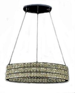 Pendente Oval 70×30cm Cristal Led 120w 3000k 6000k 6000lm Controle Bivolt