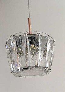 Pendente 13cm Cristal Placa Led 18w 3000k 4000k 6000k 900lm Bivolt