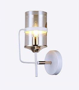 Arandela 26×10cm Metal e Vidro Branco E27×1