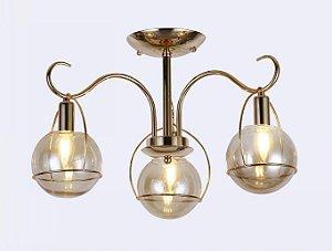 Pendente 35×52cm Metal e Vidro Dourado E27×3