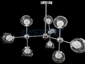 Pendente Metal e Vidro Cromado E27×9