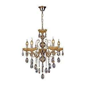 Pendente 55×60cm Cristal e Metal Dourado E14×3