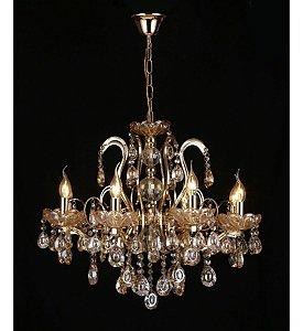 Pendente 75×65cm Cristal e Metal Dourado E14×8