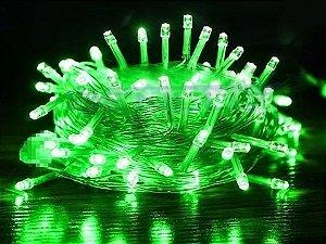 Cordão Fixo 100 LEDs Fio Transparente 9,5 Metros Verde 220V