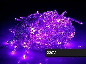 Cordão Fixo 100 LEDs Fio Transparente 9,5 Metros Roxo 220V