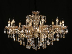 Pendente 95×70cm Cristal e Metal Dourado E14×12