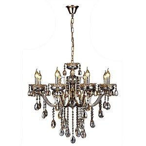Pendente 55×55cm Cristal e Metal Dourado E14×5