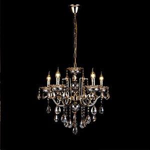 Pendente 90×70cm Cristal e Metal Dourado E14×12