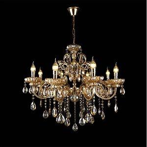Pendente 95x90cm Cristal e Metal Dourado E14×18