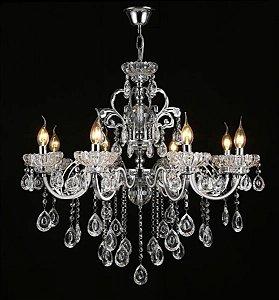 Pendente 75×60cm Cristal e Metal Cromado E14×8