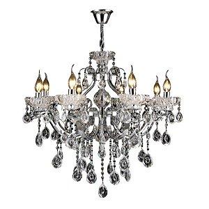 Pendente 55×60cm Cristal e Metal Cromado E14×5