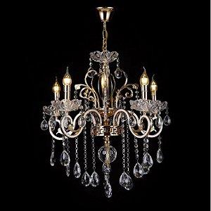 Pendente 55x60cm Cristal e Metal Dourado E14×3