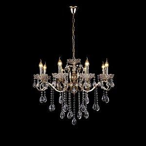 Pendente 52×60cm Cristal e Metal Dourado E14×5