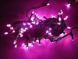Cordão Fixo 100 LEDs fio verde 9,5 Metros rosa 220V a prova d'agua