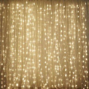 Cortina de LED Fixo 300 LEDs Fio Branco 3x2 metros Branco morno 220V