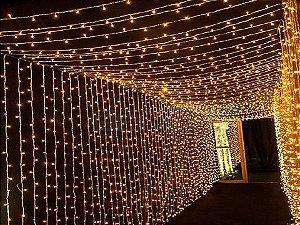Cortina de LED Fixo 900 LEDs Fio Branco 4x3 metros Branco morno 127V