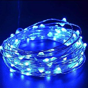 Cordão de Cobre 30 LEDs Fio de Fada 3 metros azul Pilha