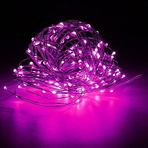 Cordão de cobre 50 LEDs fio de fada 5 metros rosa pilha