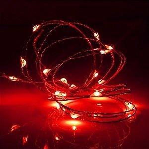 Cordão de cobre 50 LEDs fio de fada 5 metros vermelho pilha