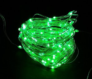 Cordão de cobre 100 LEDs fio de fada 10 metros verde pilha