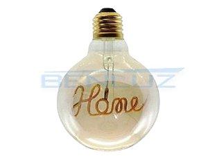 Lâmpada Bulbo Filamento LED 3W G125 Branco Quente