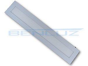Luminária painel Plafon LED 18W Retangular Embutir 12x62cm Branco Morno