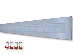 Luminária Painel Plafon LED 32W retangular Embutir 12x122cm Branco Morno