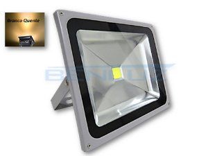 Refletor Holofote LED 50W Cinza Branco Quente a Prova d' água
