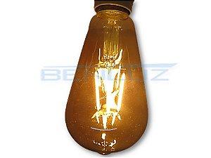 Lâmpada Filamento LED 4W ST64 Dimerizável Branco Quente 2200K