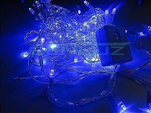 Cordão sequencial 100 LEDs Fio Transparente 9,2 Metros Azul 127V