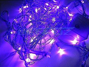 Cordão sequencial 100 LEDs Fio Roxo 9,2 Metros Roxo 110V