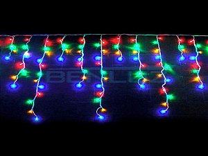 Cascata sequencial 400 LEDs Fio Branco 10 Metros colorido 127V