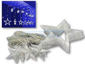 Cascata Sequencial de Estrelas 138 LEDS com 8 Funções Azul 220v M/F