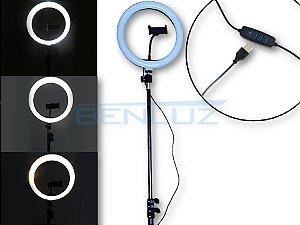 Luminária 10W Ring Light Tripé Dimerizavel Tamanho regulável Até 210cm