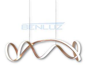 PENDENTE 100×21×120CM METAL E SILICONE DOURADO LED 65W 3000K BIVOLT