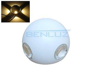 Arandela Branca LED 12W 4 fachos de Luz Branco Quente 3000K Bivolt