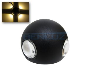 Arandela Preta LED 12W 4 fachos de Luz Branco Quente 3000K Bivolt
