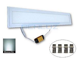 Luminária Painel Plafon LED 12W Retangular Embutir 13,5X62cm Branco Frio 6000K