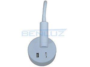 Luminária Branca LED 3W de Cabeceira Orientável com saída USB Branco Quente