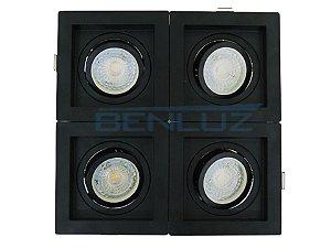 Spot Recuado Quádruplo Para Dicroica MR16 LED Medidas 20x20cm Branco Quente