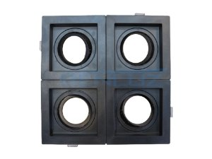 Spot Recuado Quádruplo Preto Para Dicroica MR16 LED Medidas 20x20cm (Sem Lâmpadas)
